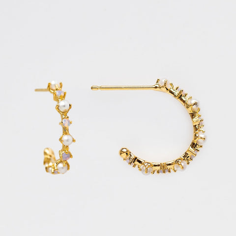 Pearl CZ Crystal Hoop Yellow Gold Small Girls Crew