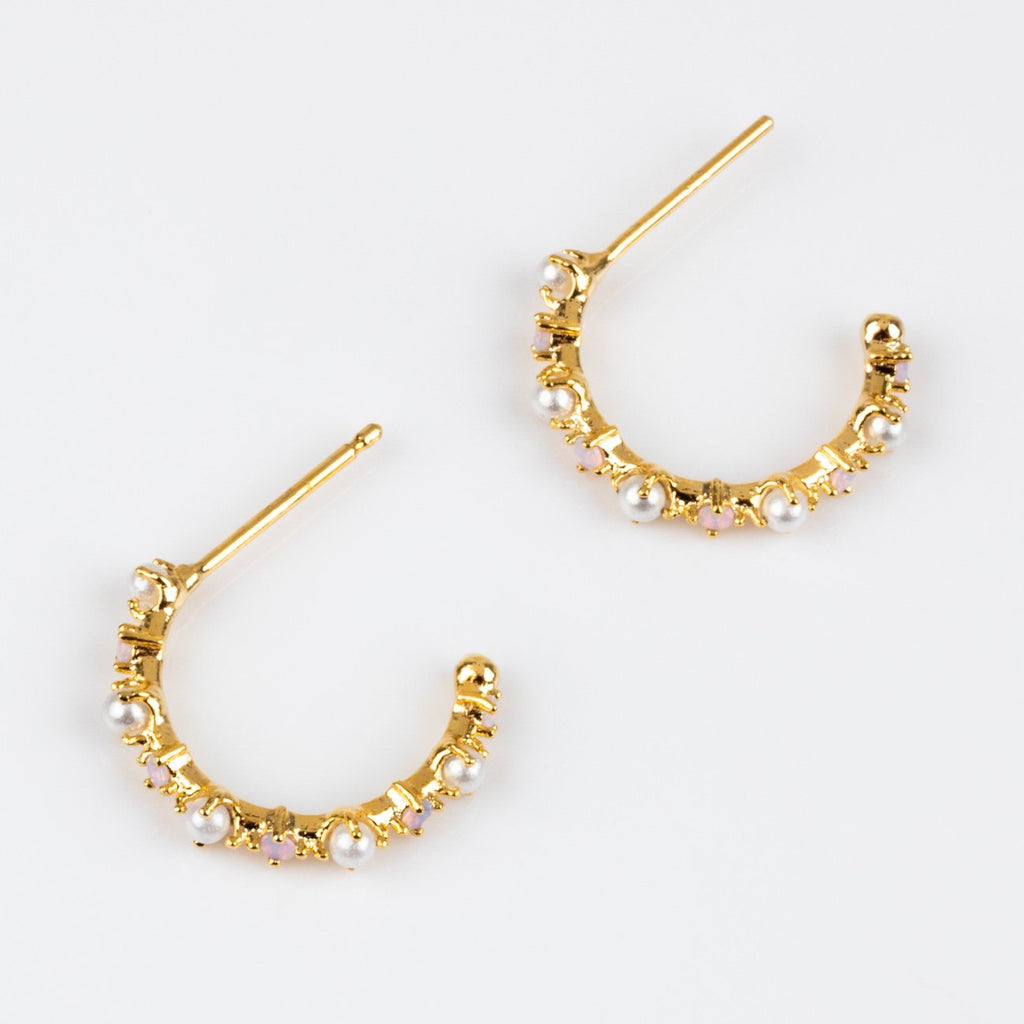 Small Hoop Pearl CZ Yellow Gold Girls Crew