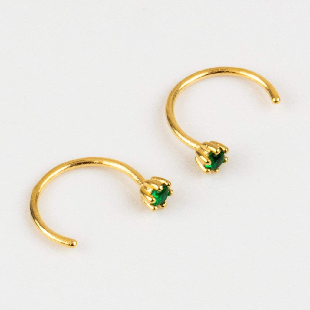 Minimal Emerald Ear Hugging Green 18k Gold Vermeil