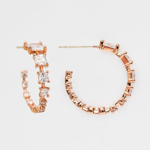 Rose Gold Medium Hoop CZ Baguette Girls Crew