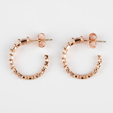 Rose Gold Earrings Baguette Hoop Girls Crew CZ