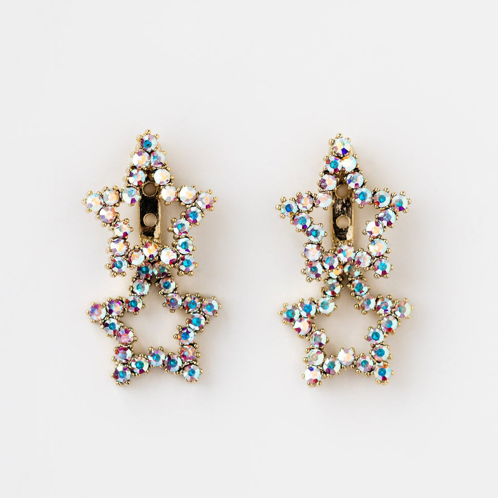 Star Ear Jacket CZ Crystal Stud Earring Girls Crew