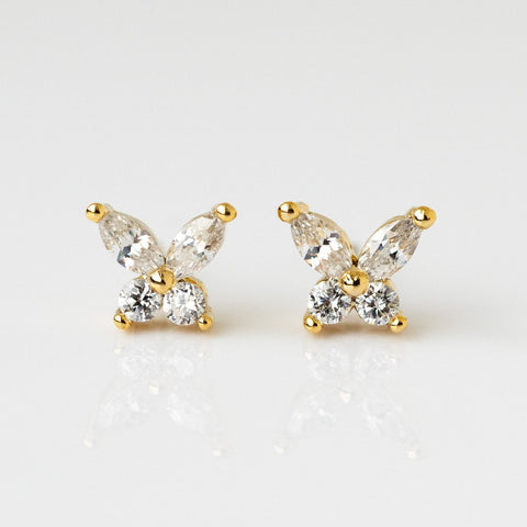 Butterfly Stud CZ Yellow Gold Marquis Round Cut Earring Girls Crew