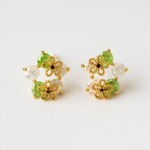White Pale Green CZ Floral Inspired Stud Earring Gold Flower Girls Crew