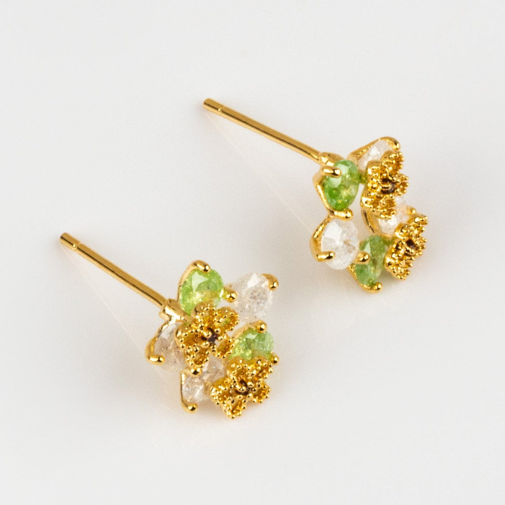 Floral Inspired Yellow Gold Stud Earring CZ Flower Charms