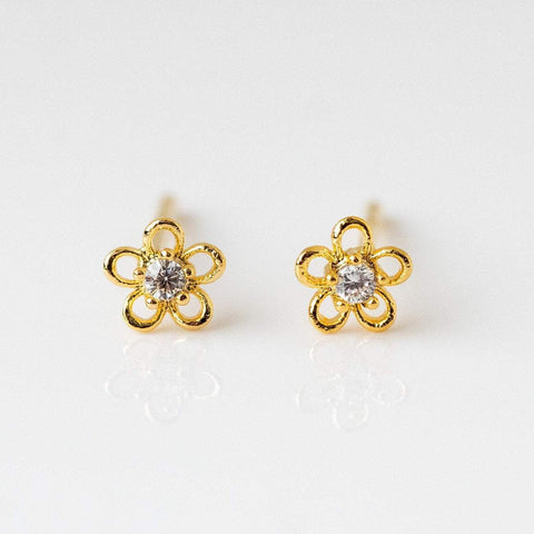 Mini Flower Stud Earring Delicate CZ Girls Crew Yellow Gold
