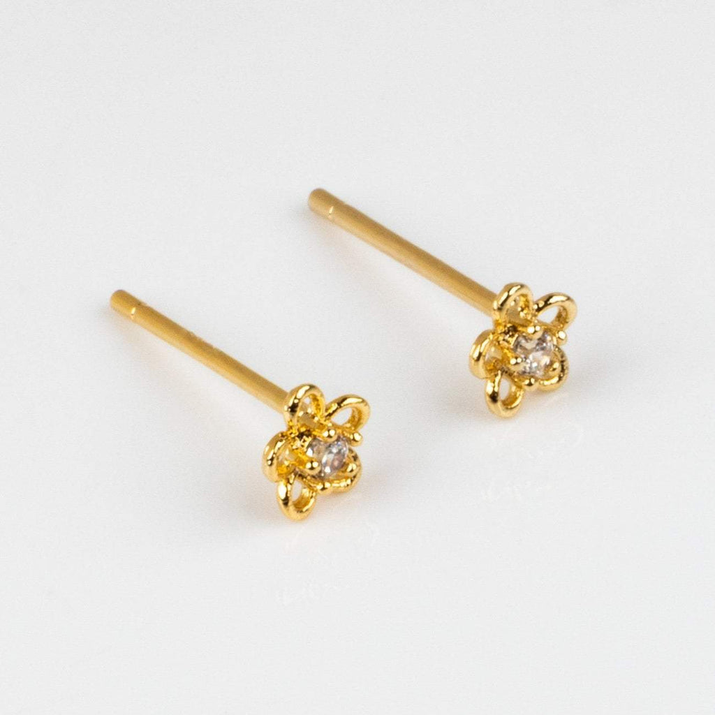 Yellow Gold Mini Flower Stud Earring CZ Girls Crew Floral Inspired