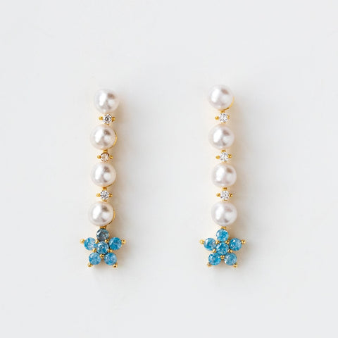 Flower Inspired Pearl Earring Stud CZ Blue Gemstones Girls Crew