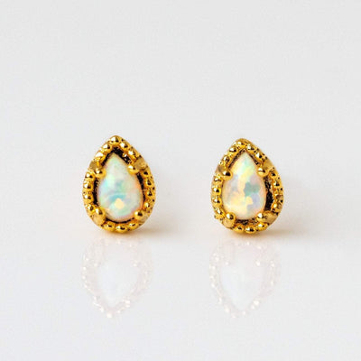 Tiny Opal Stud Earring Minimal Simple Girls Crew Yellow Gold