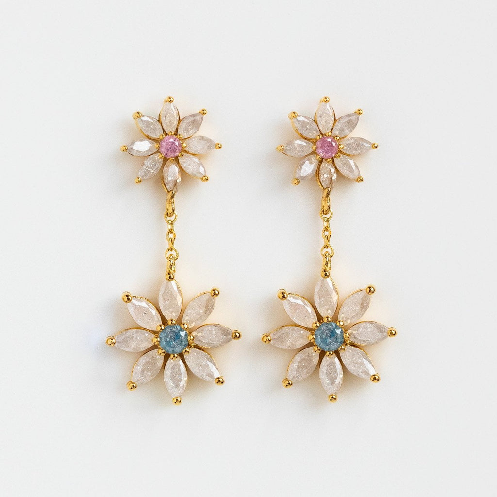 CZ Daisy Nature Inspired Dangling Earrings Yellow Gold