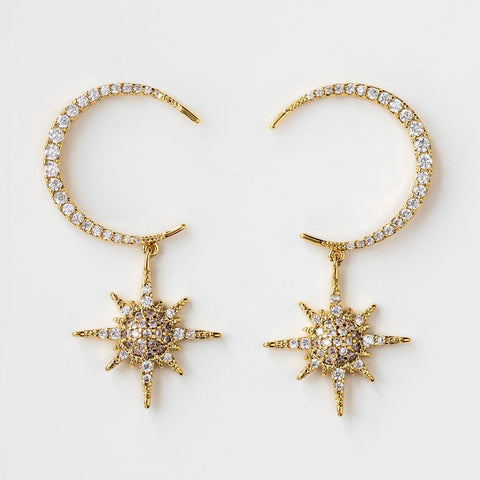 Statement Celestial Night Sky Dangle Earrings Star Moon CZ