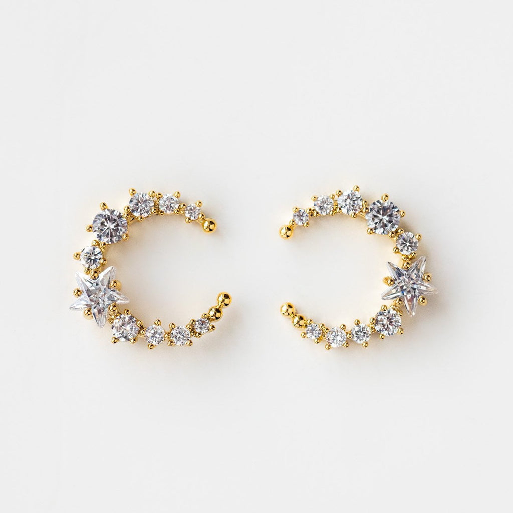 Crescent Moon Yellow Gold Statement Stud Celestial