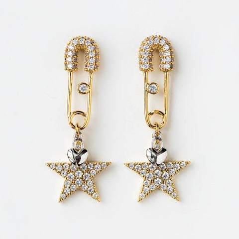 Safety Pin Star Earrings CZ Funky Tiny Heart Charm