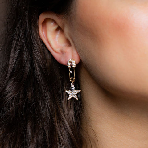Safety Pin Star Earrings