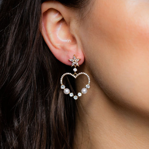 Heart Star CZ Pearl Statement Earring Girls Crew Yellow Gold