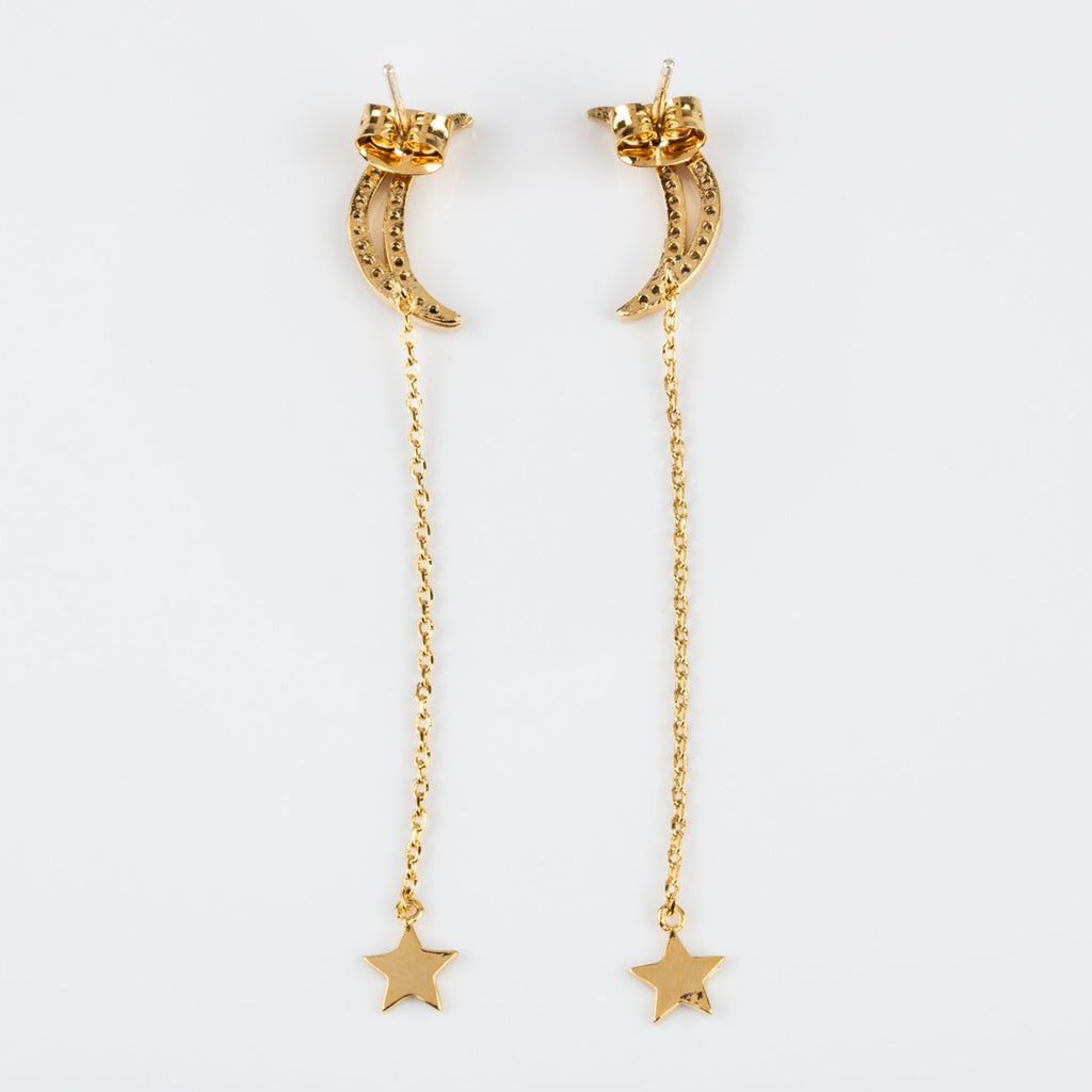 Crescent Moon Star Dangle Earring Yellow Gold Chain