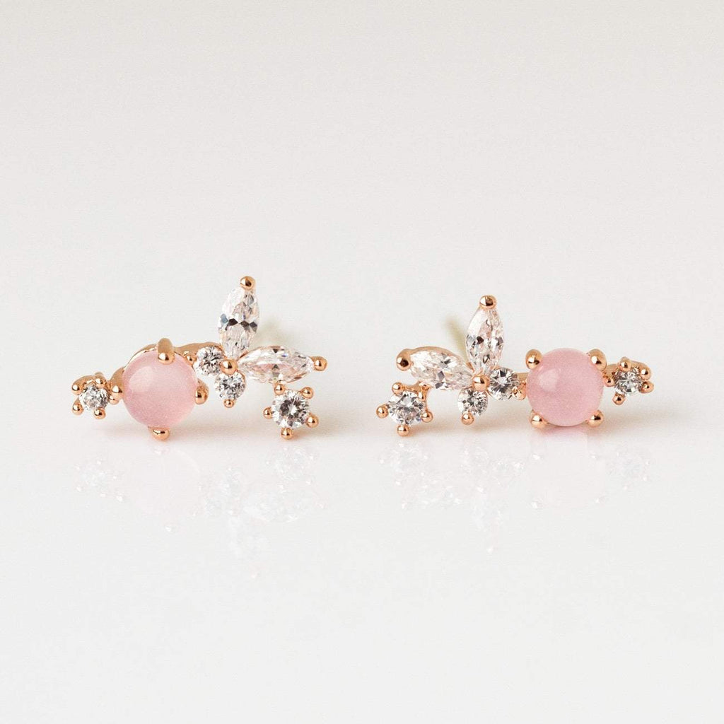 Baby Pink Quartz Stud Cabachons CZ Dainty Earrings