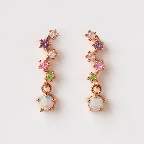 Spritzer Opal Earrings Rose Gold Pastel CZ Dainty Jewelry