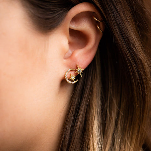 Star and Moon Stud Earrings Yellow Gold CZ Dainty Celestial Jewelry