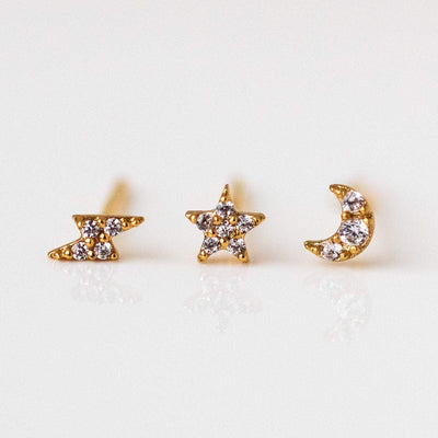 Tiny Galaxy Stud Set Yellow Gold Earring Stack Unique Celestial Jewelry
