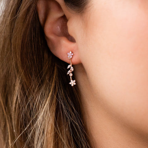Rose Gold Floral Botanical Stud Earring Dangle Jewelry