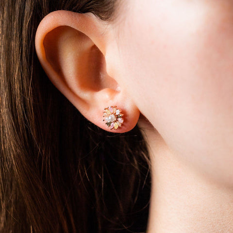 Boho Daisy Pearl Colorful CZ Statement Stud Earring Jewelry