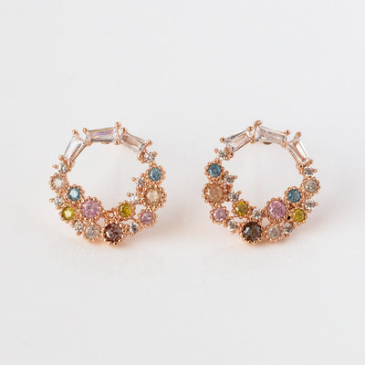 Colorful Cluster Stud Rose Gold Circle Earrings Unique Statement Jewelry