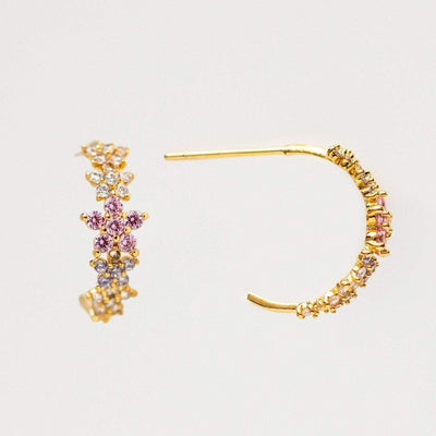 Floral Le Fleur Yellow Gold Hoop Earrings Girls Crew Dainty Jewelry