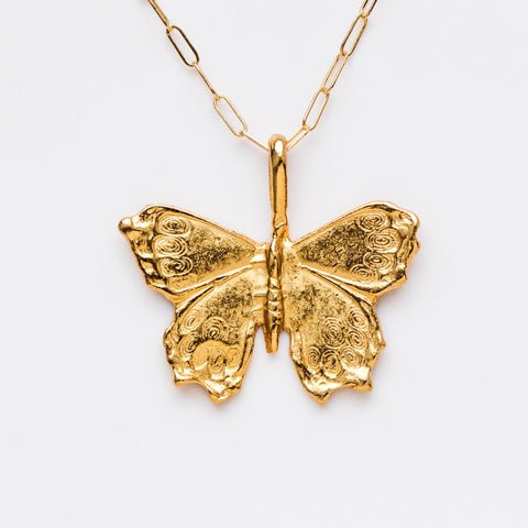 Linked Chain Butterfly Necklace - necklaces - Girls Crew local eclectic