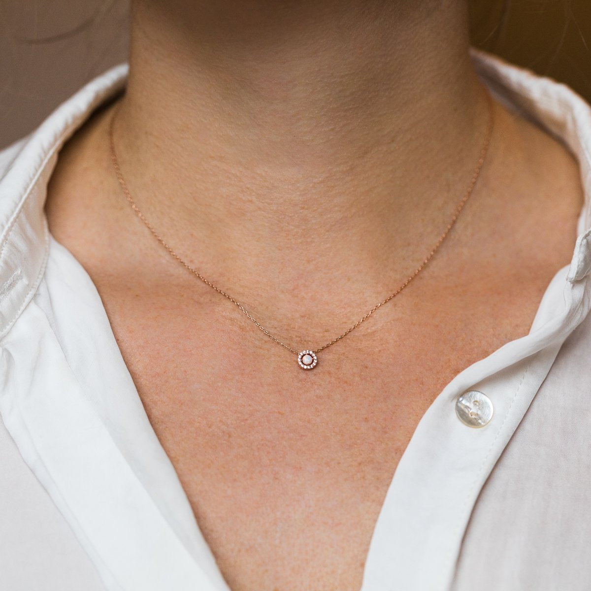 local eclectic simple opal necklace in rose gold