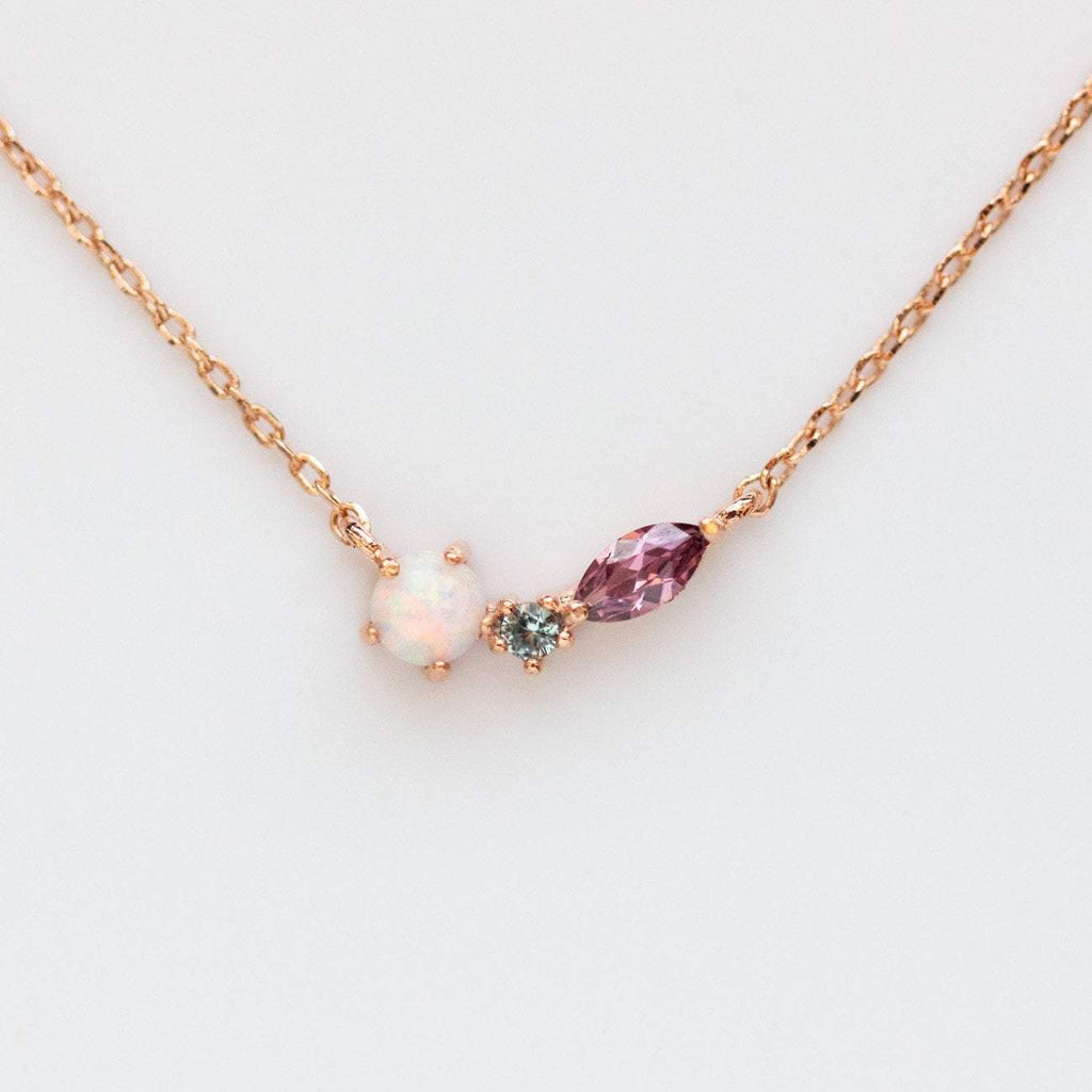 Autumn Opal Necklace in Rose Gold
