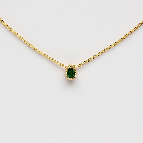 Emerald Tiny Teardrop Necklace