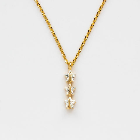 CZ Star Delicate Yellow Gold Necklace Pendant
