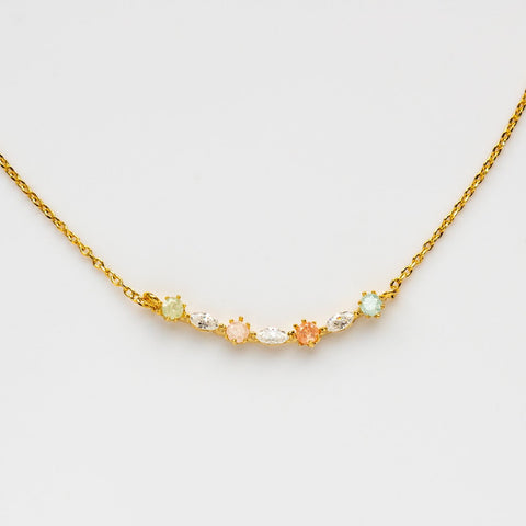 Dainty Pastel Necklace Pendant Colored CZ Yellow Gold
