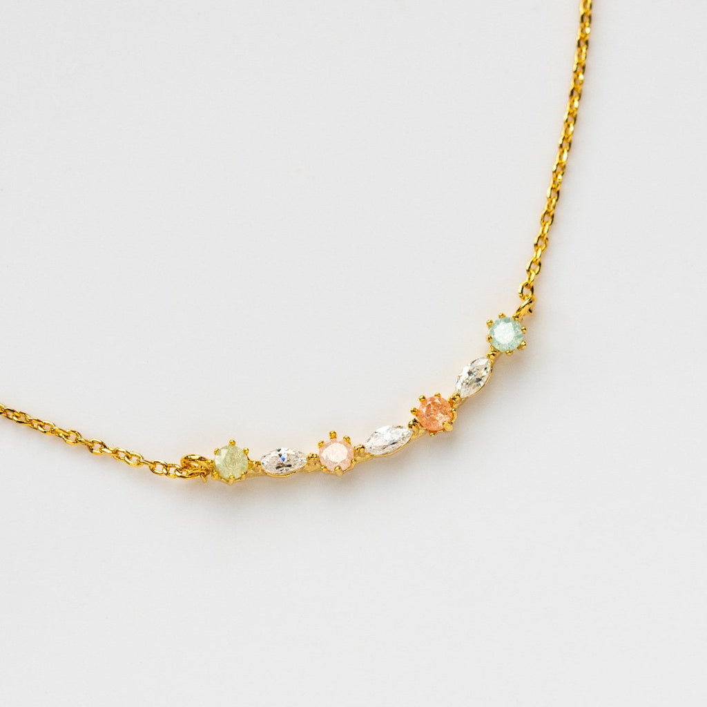 Simple Pastel Necklace Pendant Colored CZ Yellow Gold