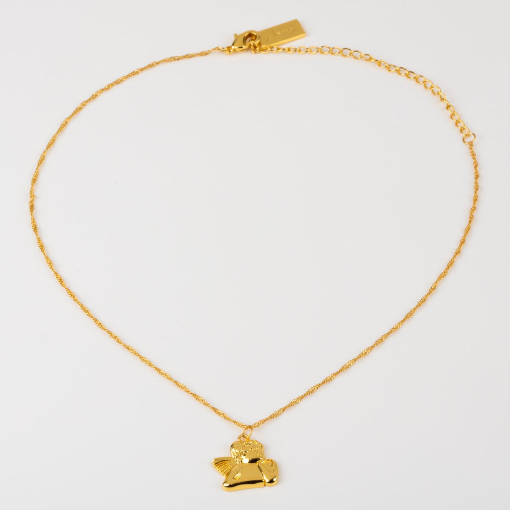 Angel Baby Yellow Gold Necklace Pendant Cute Jewelry