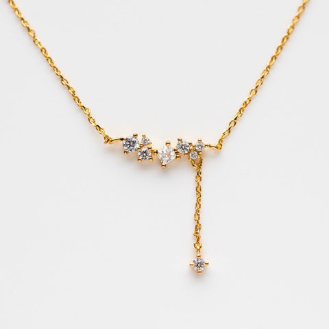 Flower Blossom Dangle Minimal Dainty Necklace Yellow Gold Jewelry