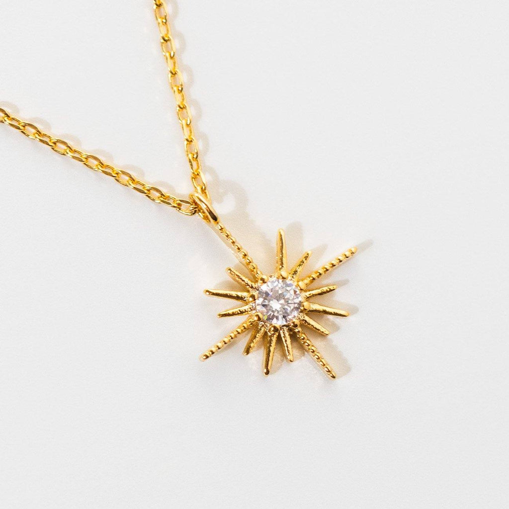 comet necklace unique yellow gold star celestial jewelry