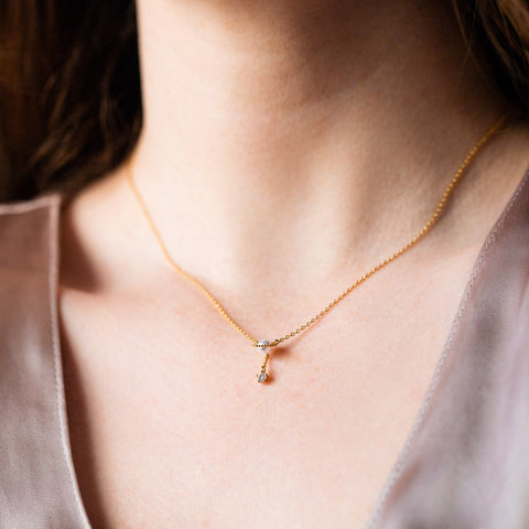 la perla necklace yellow gold dainty pearl cz jewelry