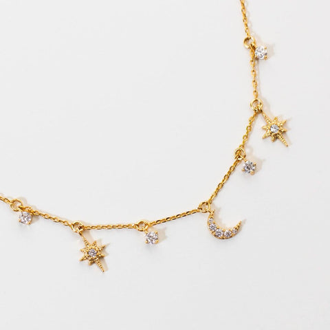 supernova celestial charm necklace unique yellow gold star moon jewelry