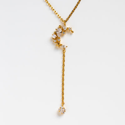 moonlight dangle necklace yellow gold celestial moon star necklace