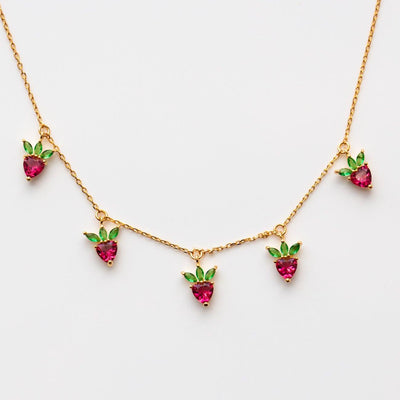 Strawberry Choker Necklace unique fruit inspired yellow gold jewelry