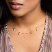 Tropical Fruit Basket Choker unique dainty yellow gold charm jewelry