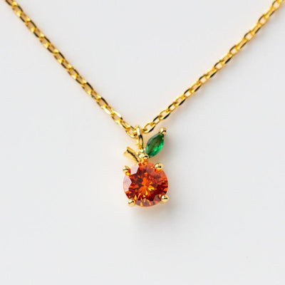Orange Juice Necklace fruit inspired yellow gold dainty orange jewelry girls crew