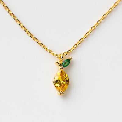 Limoncello Necklace fruit inspired yellow gold dainty jewelry lemon shaped charm