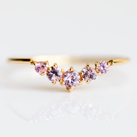 Ballerina Queen Ring with Pink Sapphires - rings - Gjenmi Jewelry local eclectic