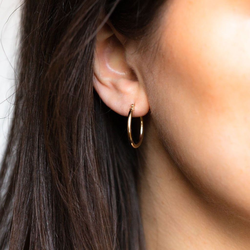 Large NY Hoops in Solid Gold