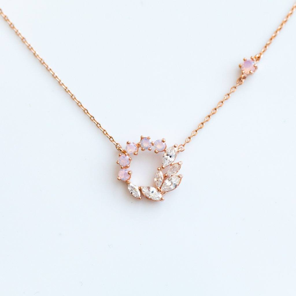 Cz Wreath Necklace In Rose Gold Local Eclectic
