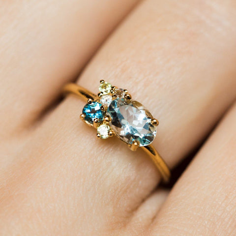 Aquamarine blue topaz peridot gold gem cluster ring