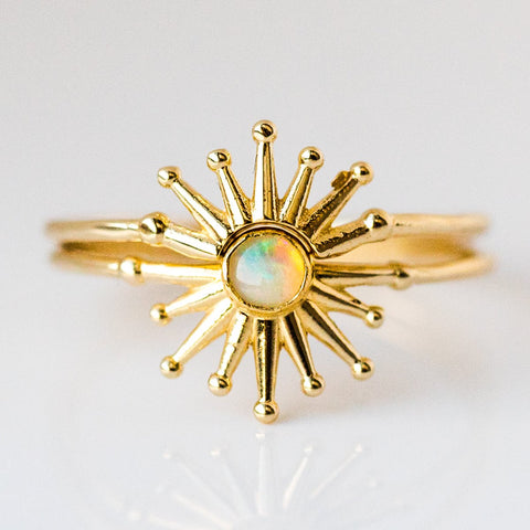 Rum Gum Ring Set with Opal - rings - I Like it Here Club local eclectic